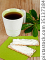 cup of tea and crackers with cream cheese 35137384
