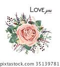 Vector floral watercolor card design rose flower 35139781