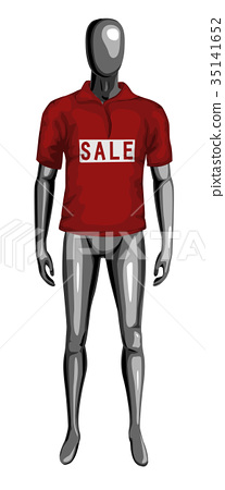 Man 3d monochrome dummy in red sale t-shirt 35141652