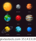 Vector planets of the solar system. Futuristic of 35143319