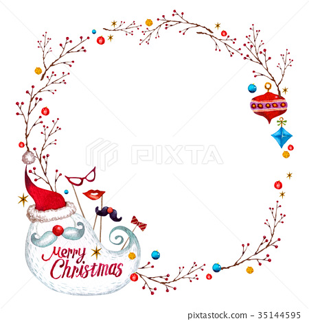 圣诞节框架02水彩例证 35144595