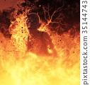 Demon woman burns in a hellfire 3d illustration 35144743