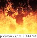 Demon woman burns in a hellfire 3d illustration 35144744