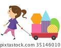 Stickman Kid Girl Cart Shapes Illustration 35146010