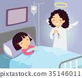 Stickman Kid Girl Hospital Guardian Angel 35146011