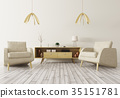 Interior with wooden cabinet and two armchairs 3d 35151781