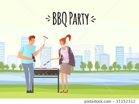 People on picnic or Bbq party. Man and woman 35152312
