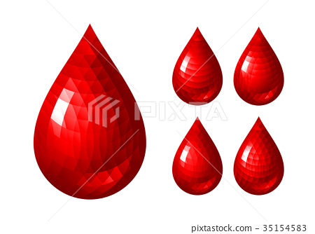Set of red blood drop icons 35154583
