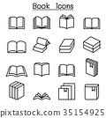 Book icon set in thin line style 35154925