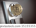 Pay by bitcoin concept. BItcoin coin  35155355
