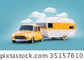 Retro car with white trailer. 35157610