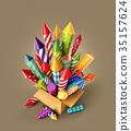 bright colorful fireworks rockets in a box. 35157624
