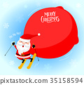 Santa Claus skiing with a big bag of presents.  35158594
