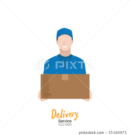 Delivery man in blue  uniform carrying box 35160973