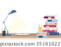Stack of books and stationery on study table 35161022