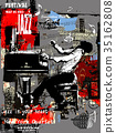 Jazz poster with pianist over grunge background 35162808