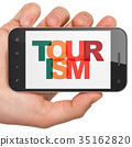 Tourism concept: Hand Holding Smartphone with 35162820