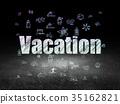 Travel concept: Vacation in grunge dark room 35162821