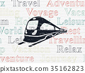 Travel concept: Train on wall background 35162823