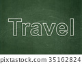 Tourism concept: Travel on chalkboard background 35162824