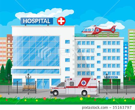 Hospital building, medical icon. 35163797