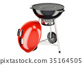 Opened red barbecue grill, 3D rendering 35164505