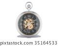 Vintage golden pocket watch with black dial face 35164533