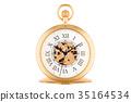 Vintage golden pocket watch, 3D rendering 35164534