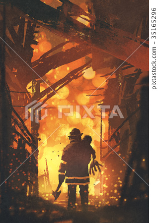 firefighter with child standing in house on fire 35165296