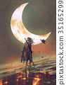man riding horse under the moon 35165299