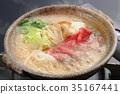 壽喜燒 烏冬面 鍋裡煮好的食物 35167441