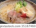 壽喜燒 烏冬面 鍋裡煮好的食物 35167460