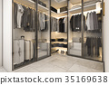 3d rendering walk in closet with golden decor 35169638