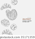 set of bakery, hand draw vector. 35171359