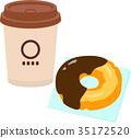 纸杯咖啡和甜甜圈 35172520