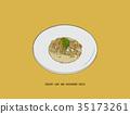 creamy ham and mushroom pasta,  sketch  vector. 35173261