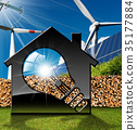 House with Light bulb and Renewable Resources 35177884