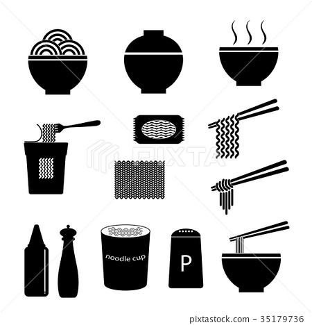 vector of noodle icon set 35179736