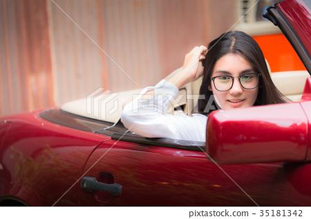 Beautiful young asian woman wearing glasses 35181342