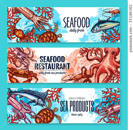 Vector banners sketch seafood fish for restaurant 35186362