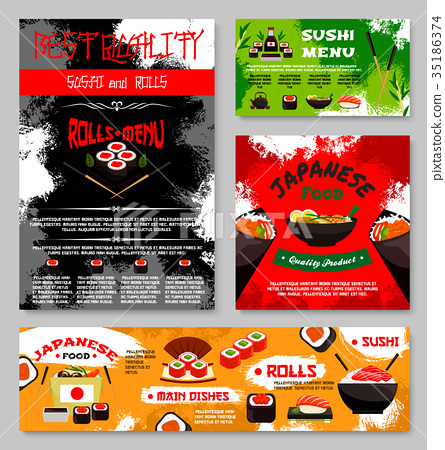 Vector menu for Japanese sushi food restaurant 35186374