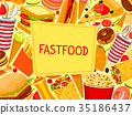 Fast food burger and sandwich vector menu poster 35186437