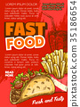 Fast food vector tacos or french fries sketch menu 35186654