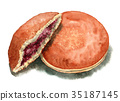 dorayaki, watercolour, watercolors 35187145