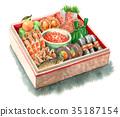 年夜饭 水彩画 食物 35187154