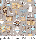 Vector seamless pattern. Cozy hygge elements, home 35187322