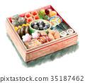 年夜饭 水彩画 食物 35187462