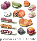 Japanese sweets drawn by watercolor 35187465