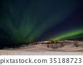 極光 雪地 冰島 35188723