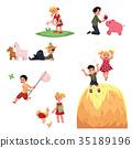 Happy children spend summer vacation in farm 35189196